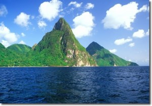 pitons_from_sea